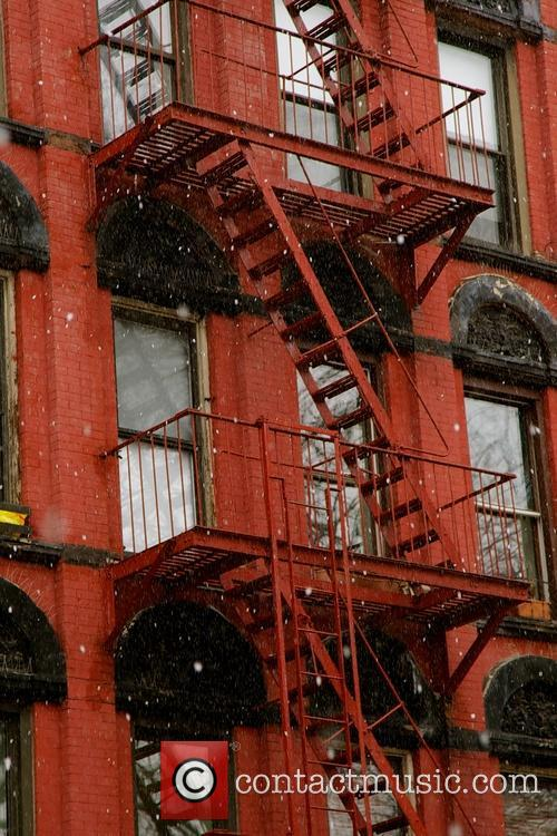 Snowy day in New York's East Village