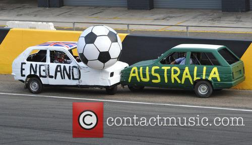 Jeremy Clarkson, Shane Jacobson Battle For Possession Of The Ball In The Tri Nations Car Football Final At The Top Gear Festival. Clarkson Was Denied A Goal After The Whistle, England Went Down 3-2 To The Australian Team Of Jacobson and Steve Pizzati. 6