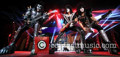 Gene Simmons, Paul Stanley and Tommy Thayer from KISS perform