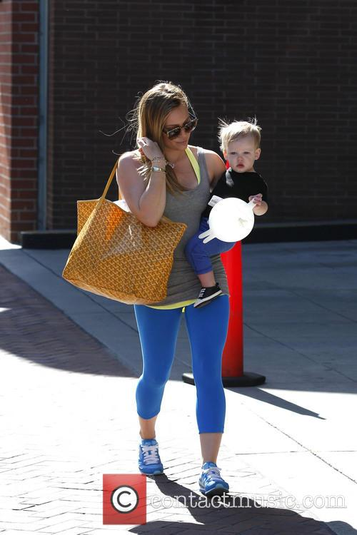 Hilary Duff and son Luca are seen leaving...