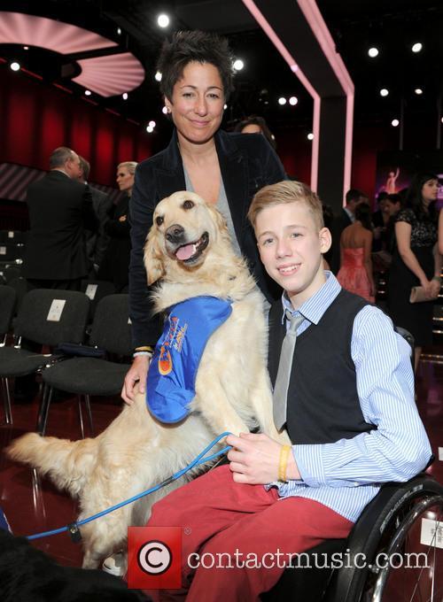 Robin Lange, His Dog Vitus and Dunja Hayali 2