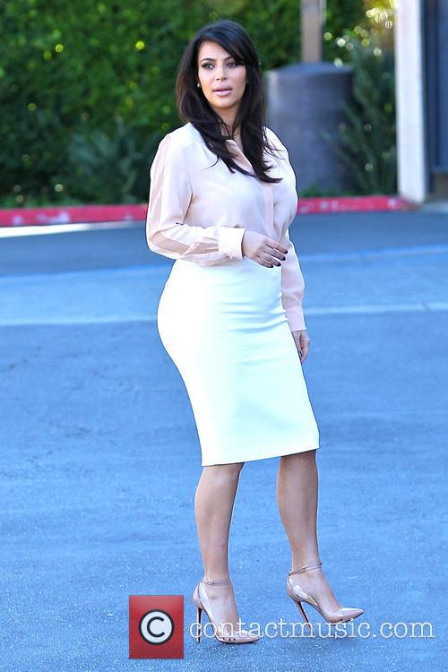 A pregnant Kim Kardashian is seen heading to...
