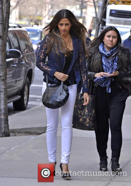 Camila Alves returns to her hotel