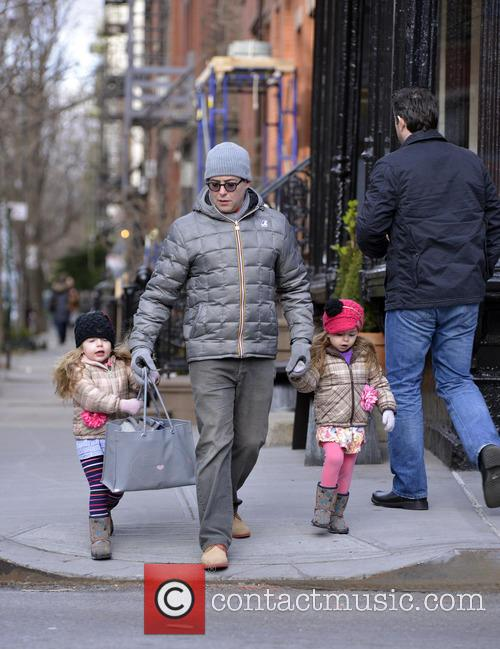 Matthew Broderick takes his twin daughters to school