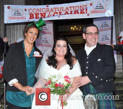 Bride Claire Gilchrist With Father and Miranda Hart 2
