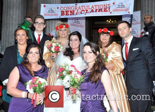 Miranda Hart, Tom Fletcher, Jennifer Saunders, Bride Claire Gilchrist, Dawn French and Harry Judd 3