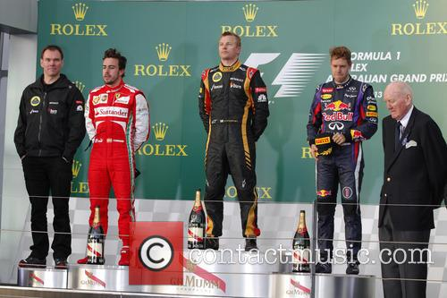 Fernando Alonso, Kimi Raikkonen and Sebastian Vettel 4