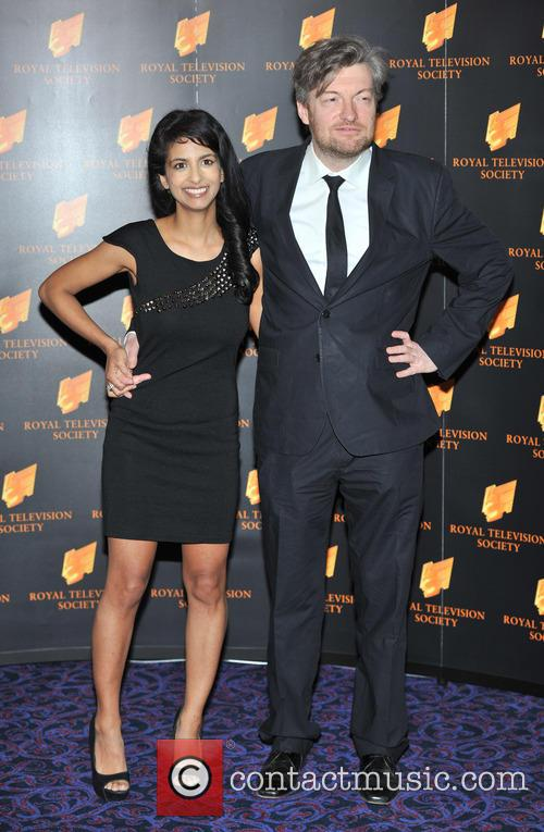 Charlie Brooker with wife Konnie Huq at the Royal Television Society Programme Awards, 2013