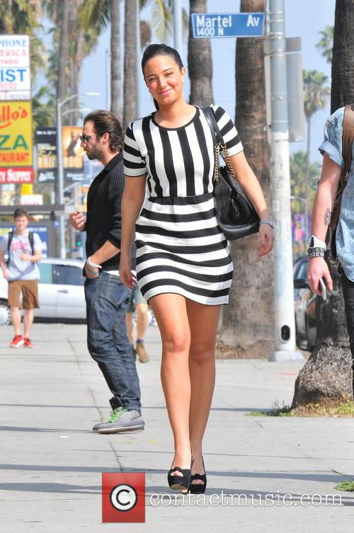 Tulisa seen leaving Aroma for lunch