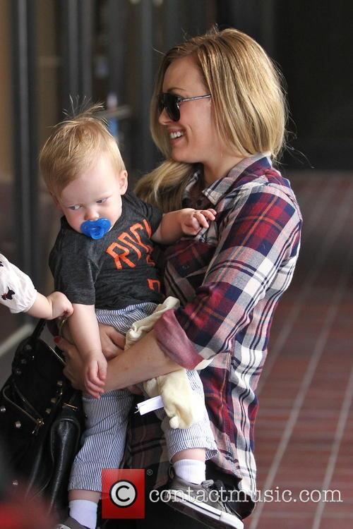 Hilary Duff and son Luca to a class...