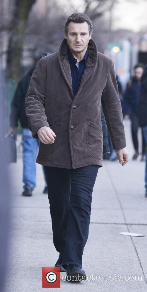Liam Neeson filming scenes from his new movie 'A Walk Among the Tombstones'
