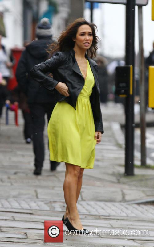 Myleen Klass seen waiting to cross the road...