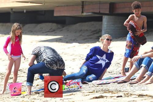 Heidi Klum and her children on Malibu Beach
