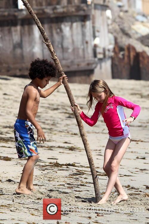 Heidi Klum, Leni Samuel, Johan Samuel, Malibu Beach