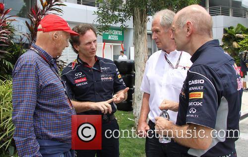 Niki Lauder, Christian Horner and Dr Helmut Marko 11
