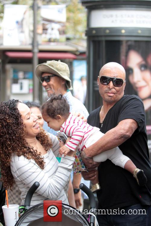 J.R. Martinez and family at The Grove