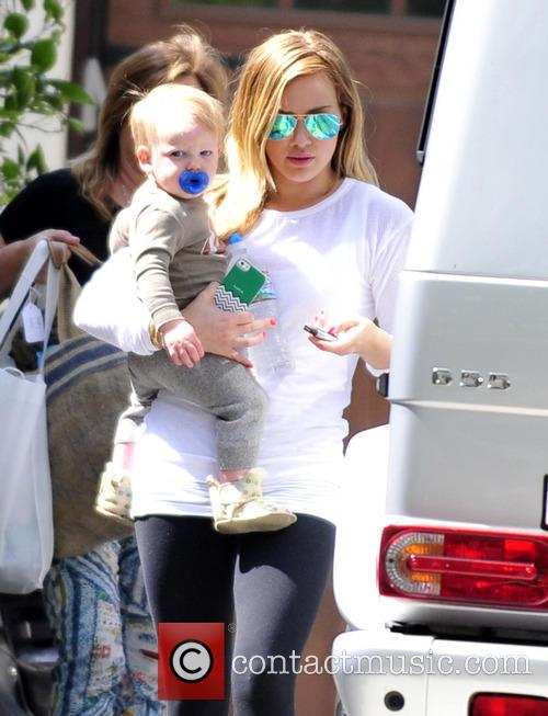 Hilary Duff is  seen leaving her mother's house with her son Luca in Toluca Lake