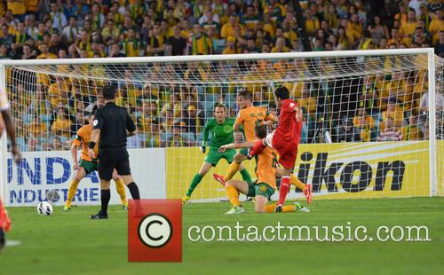 Australia's Michael Thwaite Gets Kicked In The Shoulder As He Blocks A Shot 5
