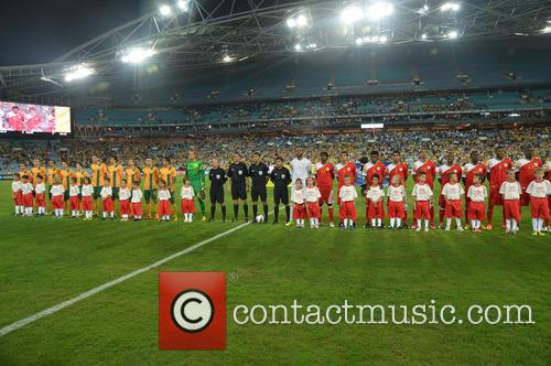 The Australian and Oman Teams Line-up For The World Cup Qualifier In Sydney Which Ended In A 2-2 Draw. 8