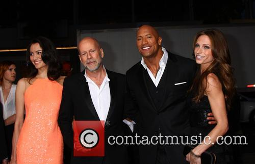Emma Heming, Bruce Willis, Dwayne Johnson and Lauren Hashian 2
