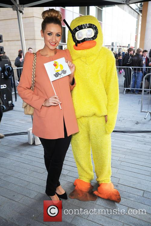 catherine tyldesley manchester duck race at spinningfields 3581555