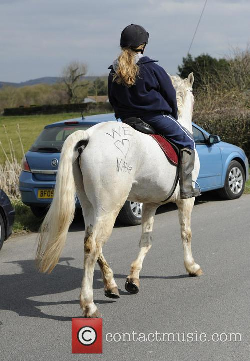 Katie Price and 'we Love Katie' Is Written On A Horse 2