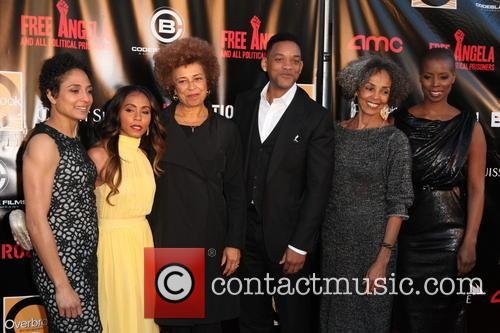 From Lto R, Director Shola Lynch, Jada Pinkett-smith, Angela Davis, Will Smith, Fania Davis and Sidra Smith 4