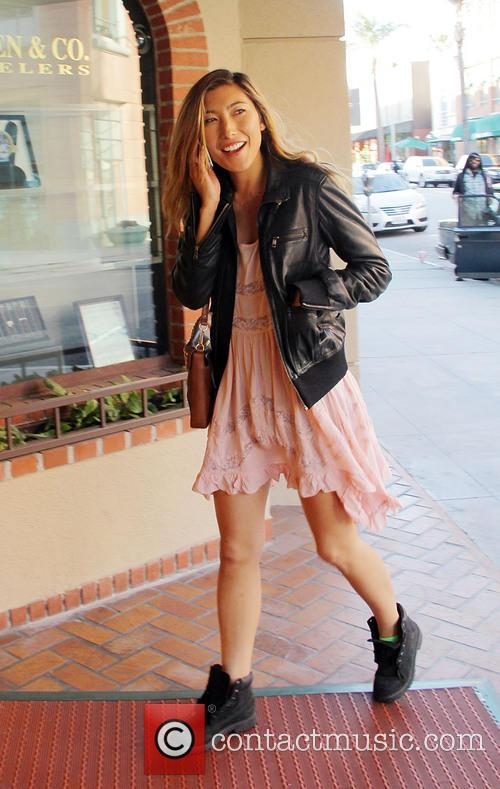 Actress Dichen Lachman arriving at a medical building