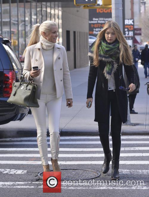 Yolanda Foster and her daughter Gigi Hadid seen...