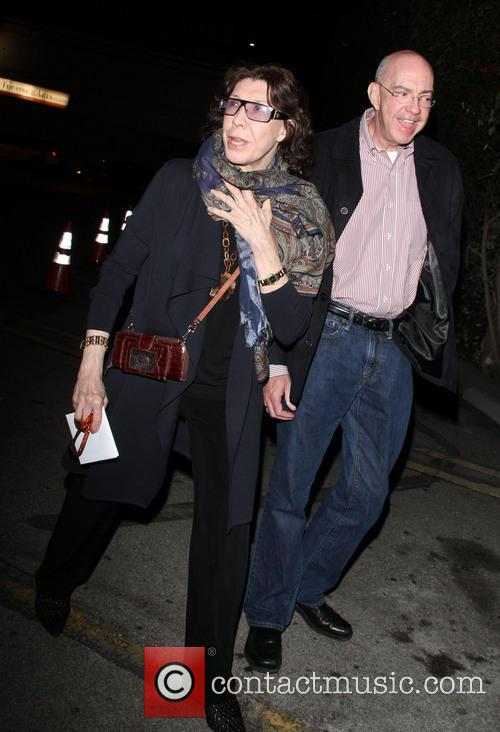 Lily Tomlin and a friend leave the Egyptian...