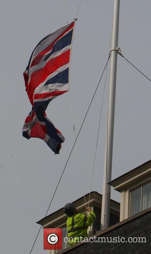 The Union Flag at number 10 Downing Street