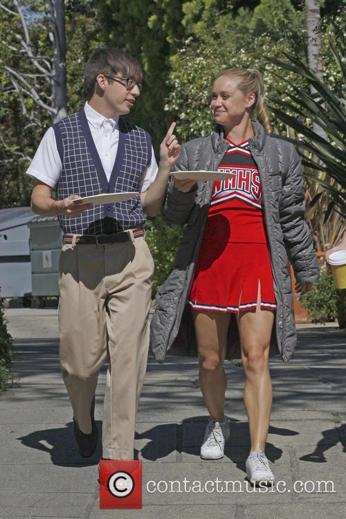 Kevin McHale and Becca Tobin are seen shooting...