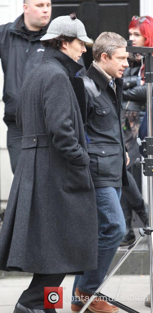 benedict cumberbatch martin freeman sherlock filming on location 3598813