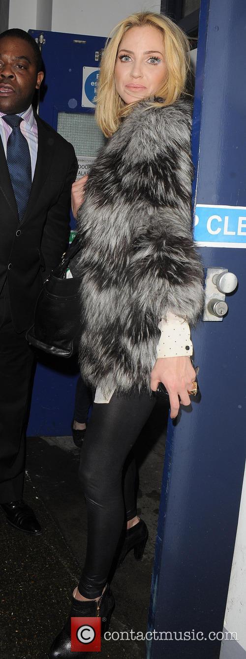 Sarah Harding leaving the Riverside Studios