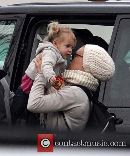 Pink arrives at Dublin Airport with her young...