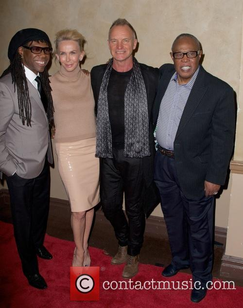 Nile Rodgers, Trudie Styler, Sting Styler and Sam Moore 2