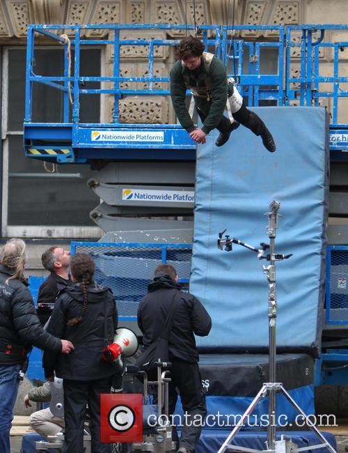 Benedict Cumberbatch films a scene for the third...