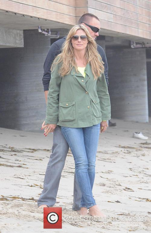 Heidi Klum with her family on Malibu Beach