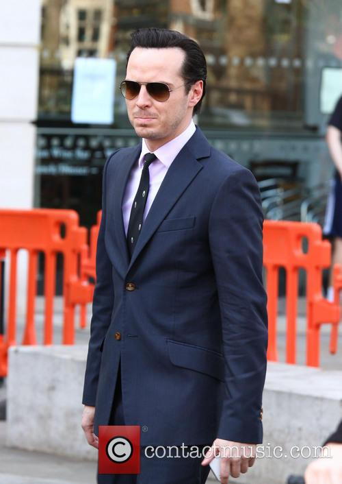 Andrew Scott looking formidable in aviators on the set of 'Sherlock'