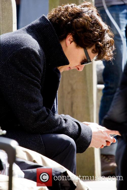 Benedict Cumberbatch and Martin Freeman filming scenes of their new TV series 'Sherlock'