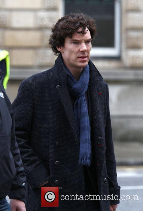 Benedict Cumberbatch looking deadly serious on the set of 'Sherlock'
