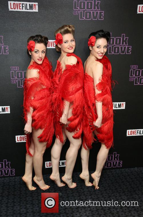 Semi-nude dancers flaunt their feathers at 'The Look of Love' London premiere