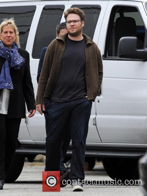 """Actor Seth Rogen gets a surprise visit from his wife Lauren Miller on the set of """"Townies"""""""