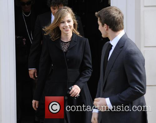 Amanda Thatcher and Michael Thatcher depart the late Margaret Thatcher's house