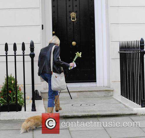 Floral tributes are left at Margaret Thatcher's house