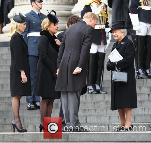 Sarah Jane Russell, Carol Thatcher, Mark Thatcher and Hm Queen Elizabeth 2