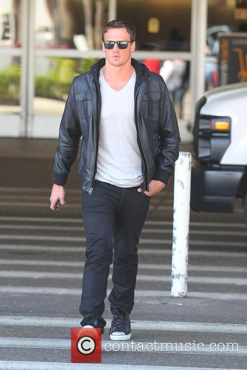 Ryan Lochte arrives at Los Angeles International Airport