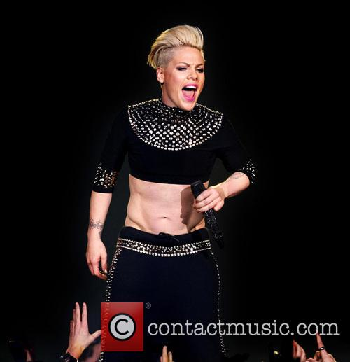 Pink performing in concert