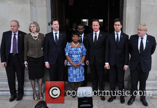 Damian Green, Theresa May, Nick Clegg, Doreen Lawrence, David Cameron, Ed Miliband and Boris Johnson 2