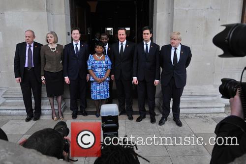 Damian Green, Theresa May, Nick Clegg, Doreen Lawrence, David Cameron, Ed Miliband and Boris Johnson 1